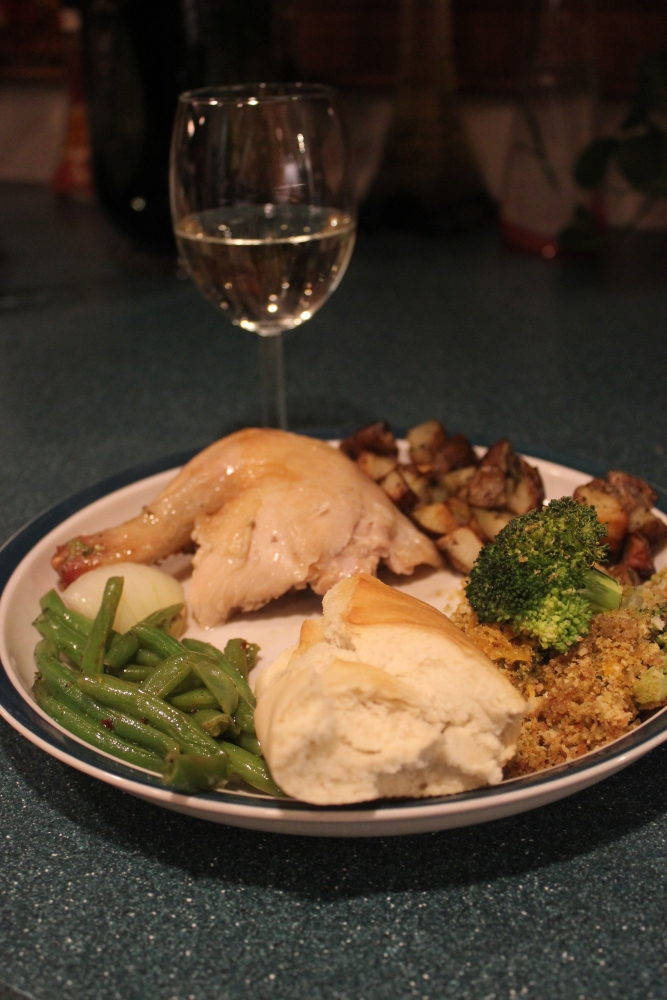 Sunday Chicken, with pan roasted potatoes and broccoli casserole (some green beans on the side as well) (4/6)
