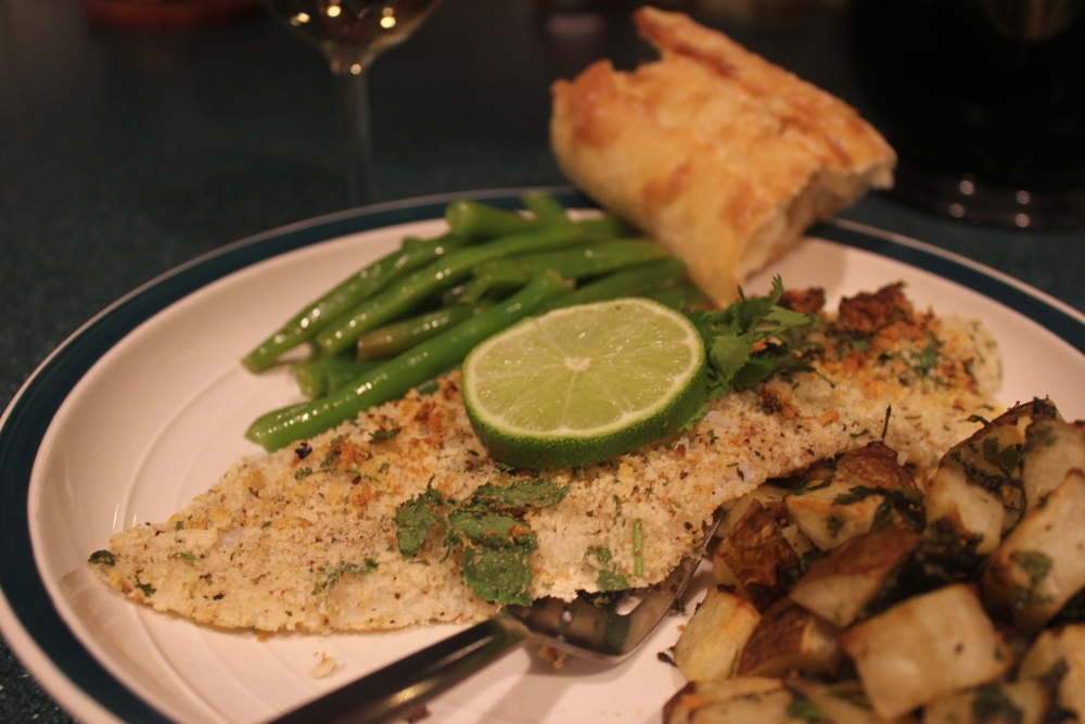 Panko Crusted Cilantro Lime Swai with Roasted Potatoes and Red wine Green Beans (2/2)