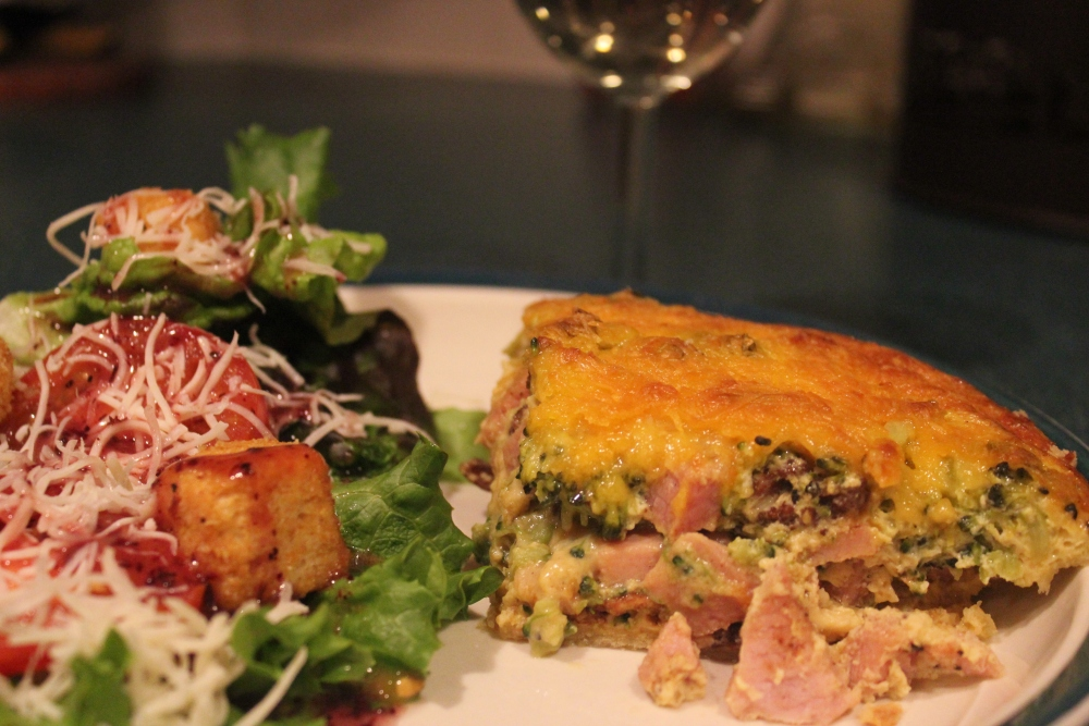 Cheesy Ham and Broccoli Quiche