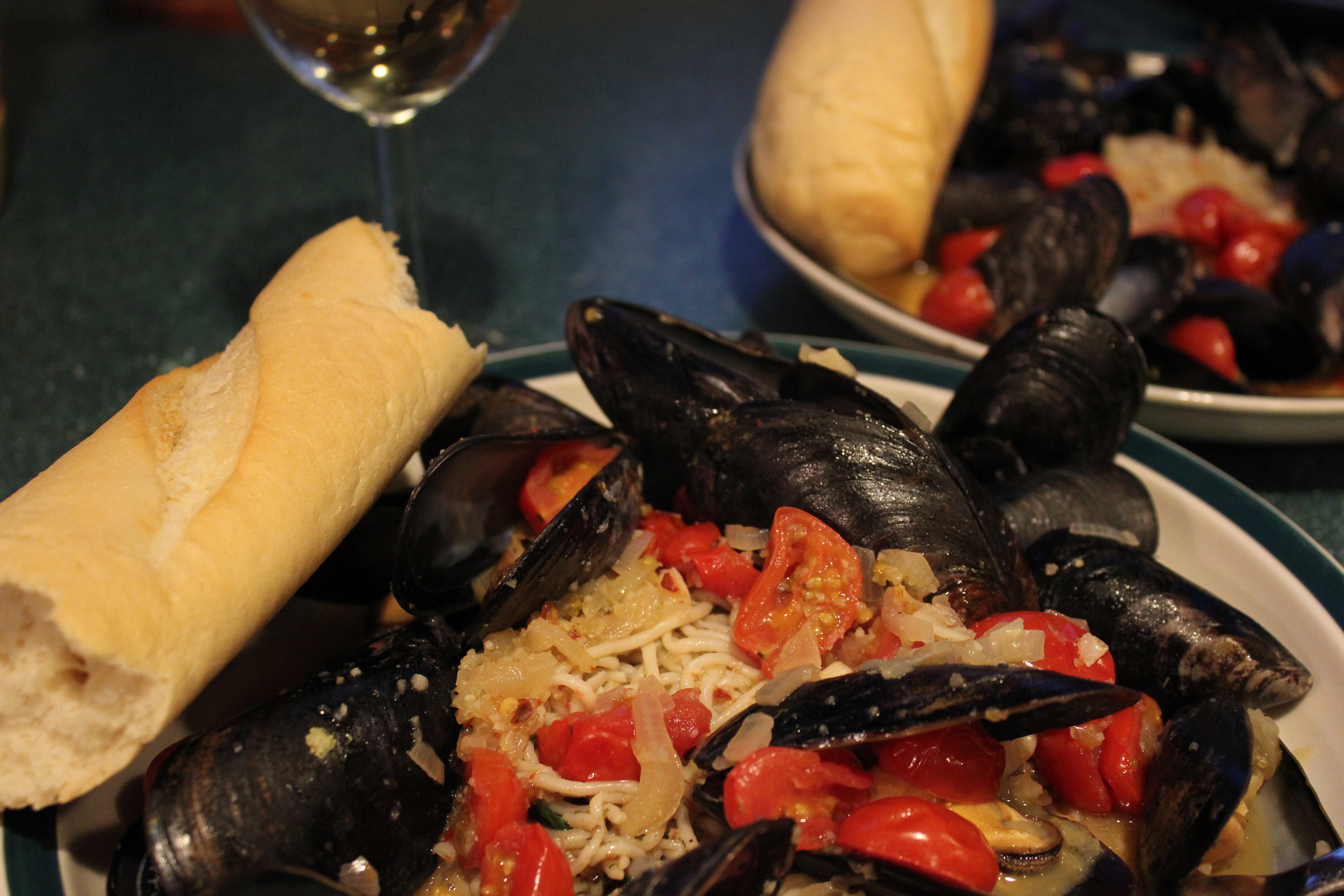 Spaghetti and Mussels with tomatoes and Basil | LauraLovingLife