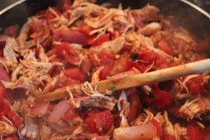 Shredded chicken and tomato mixture
