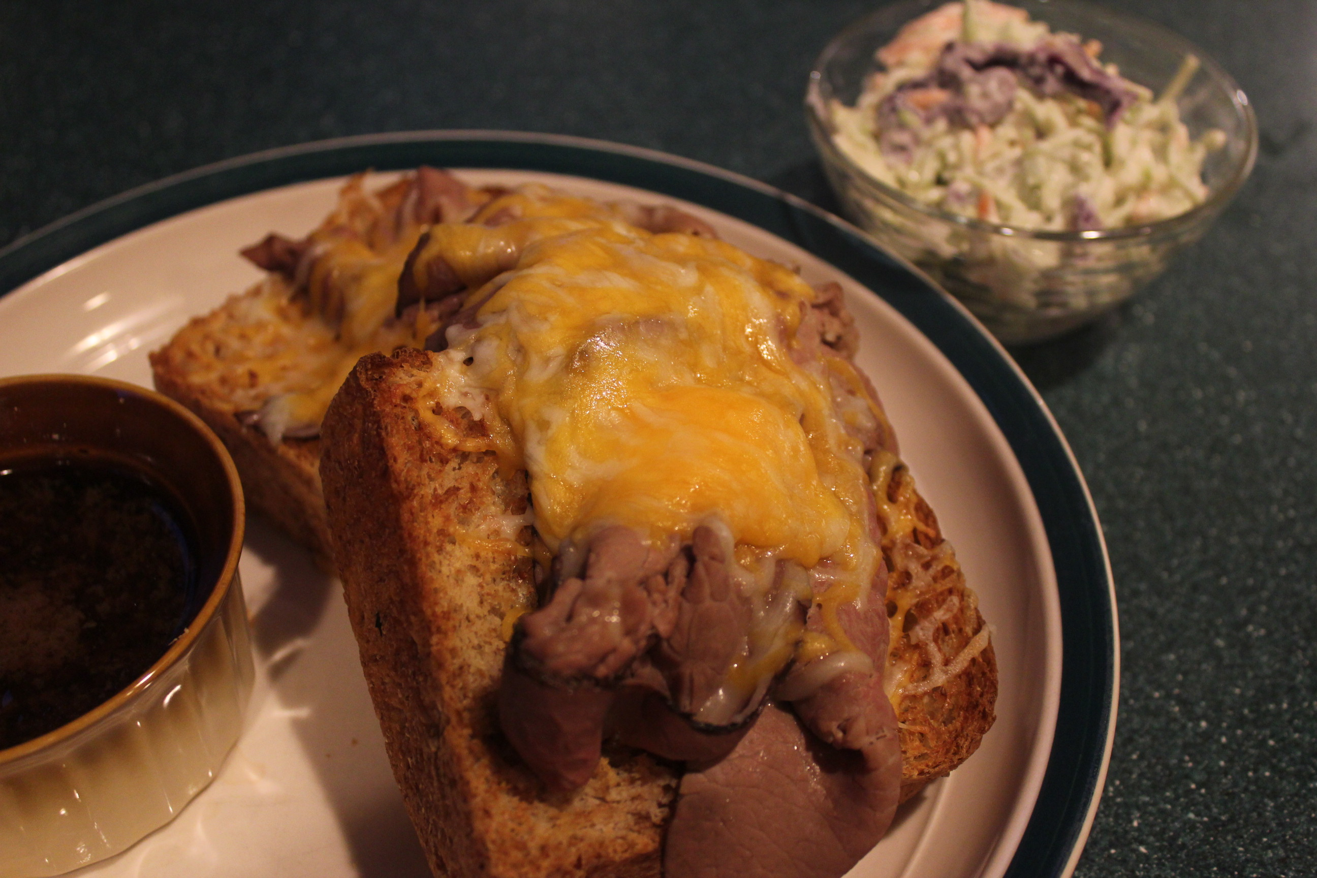 Open Faced Roast Beef Sandwich with Creamy Horseradish slaw ...